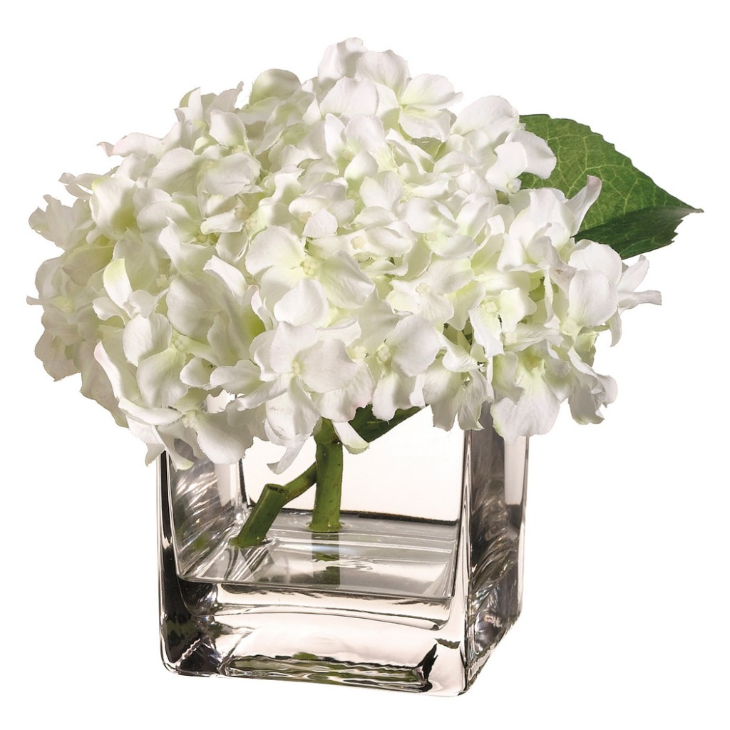 Use artificial flowers as cubicle decorations hydrangea in vase with acrylic water mightylinksfo