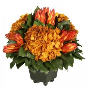 Custom Preserved Hydrangea and Protea Arrangement
