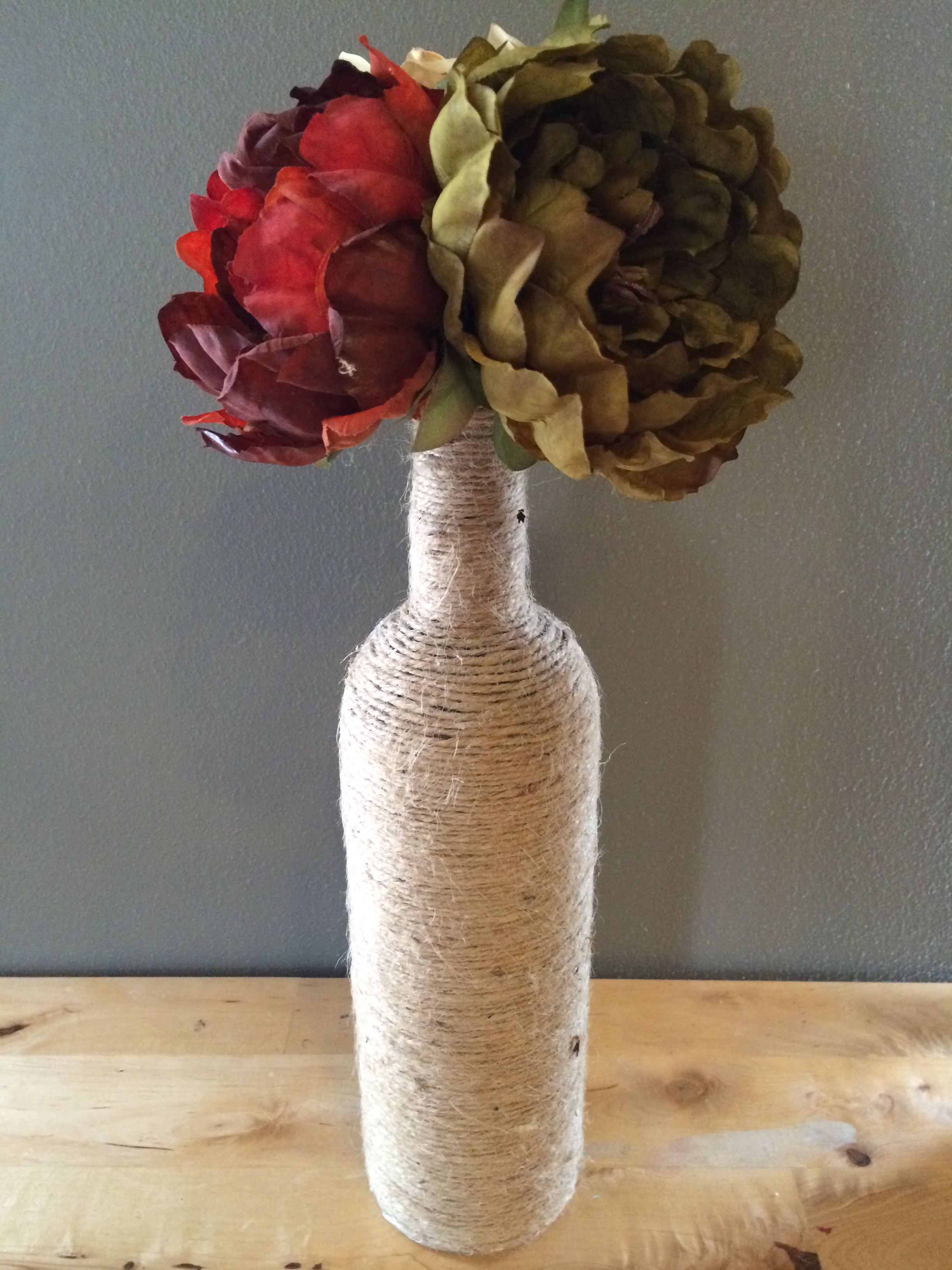 Items similar to Twine Wrapped Wine Bottle on Etsy |Twine Covered Wine Bottles