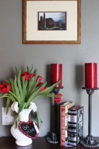 Valentine's Day Floral Arrangement with Chalkboard