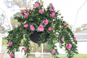 DIY: Hanging Basket with Artificial Azaleas