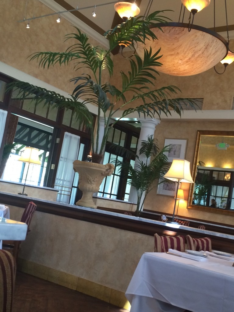 Spotted artificial palm trees decorating a restaurant