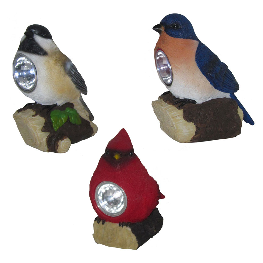 Bird Trio With Solar Lights