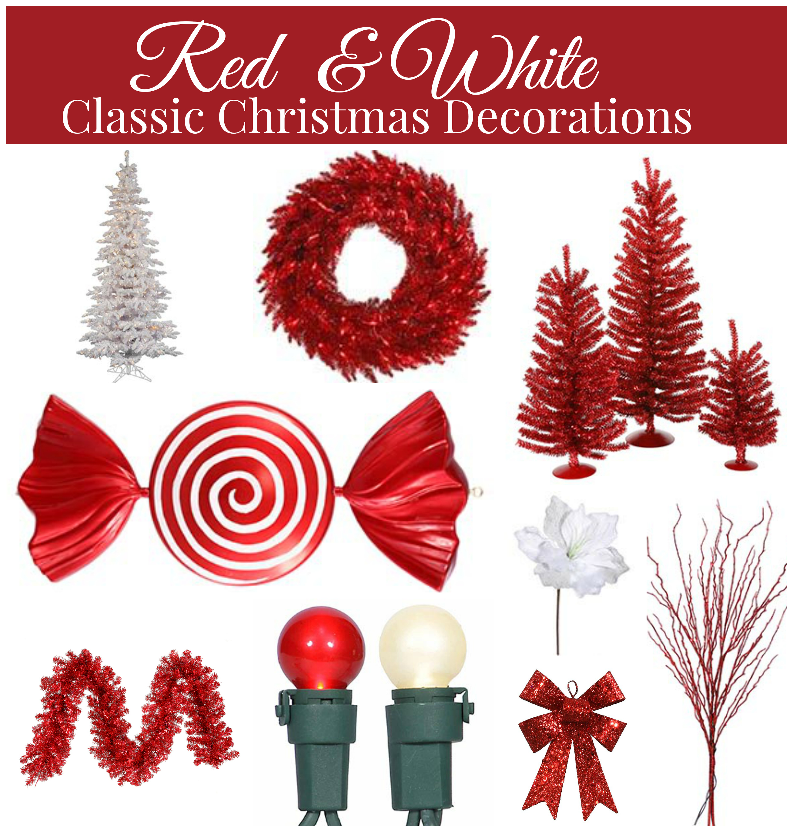 Red and white christmas decorations - Red And White Christmas Decorations