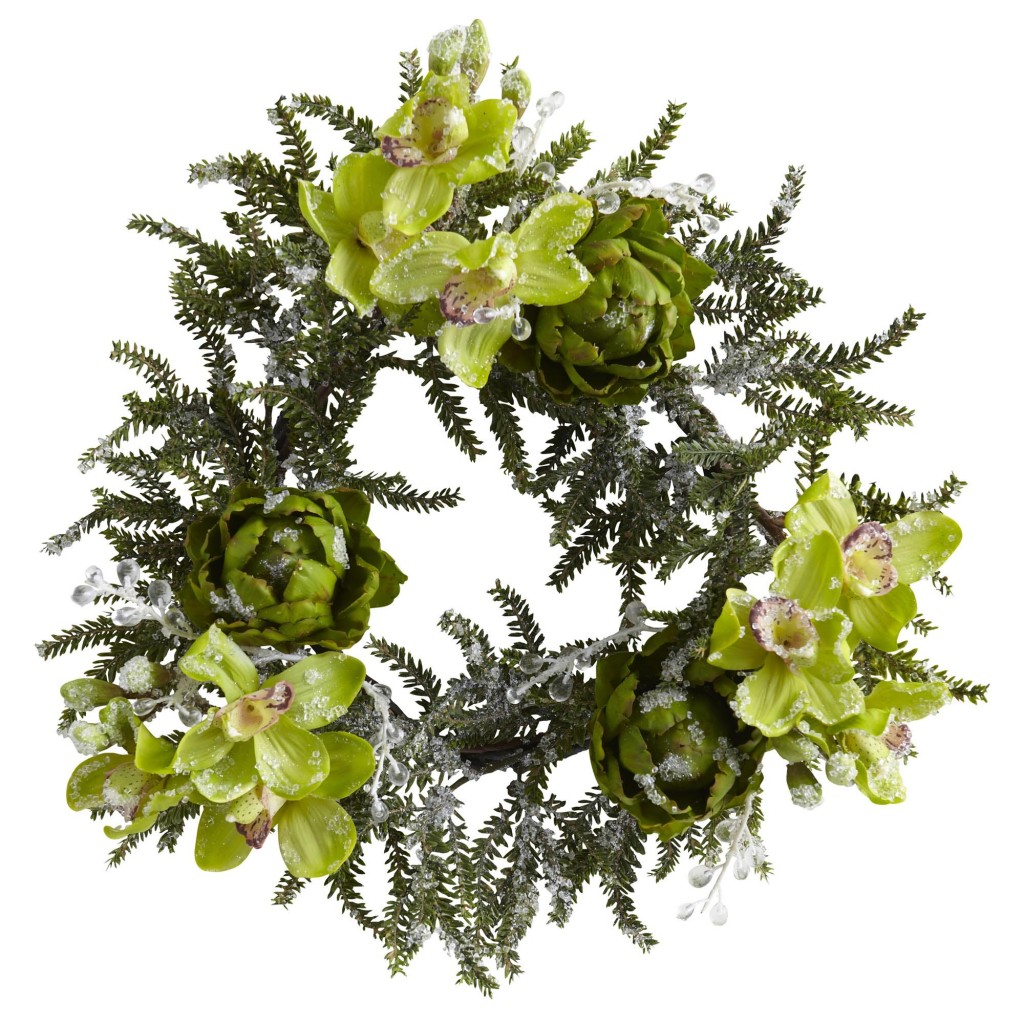 Orchid and Artichoke Christmas Wreath