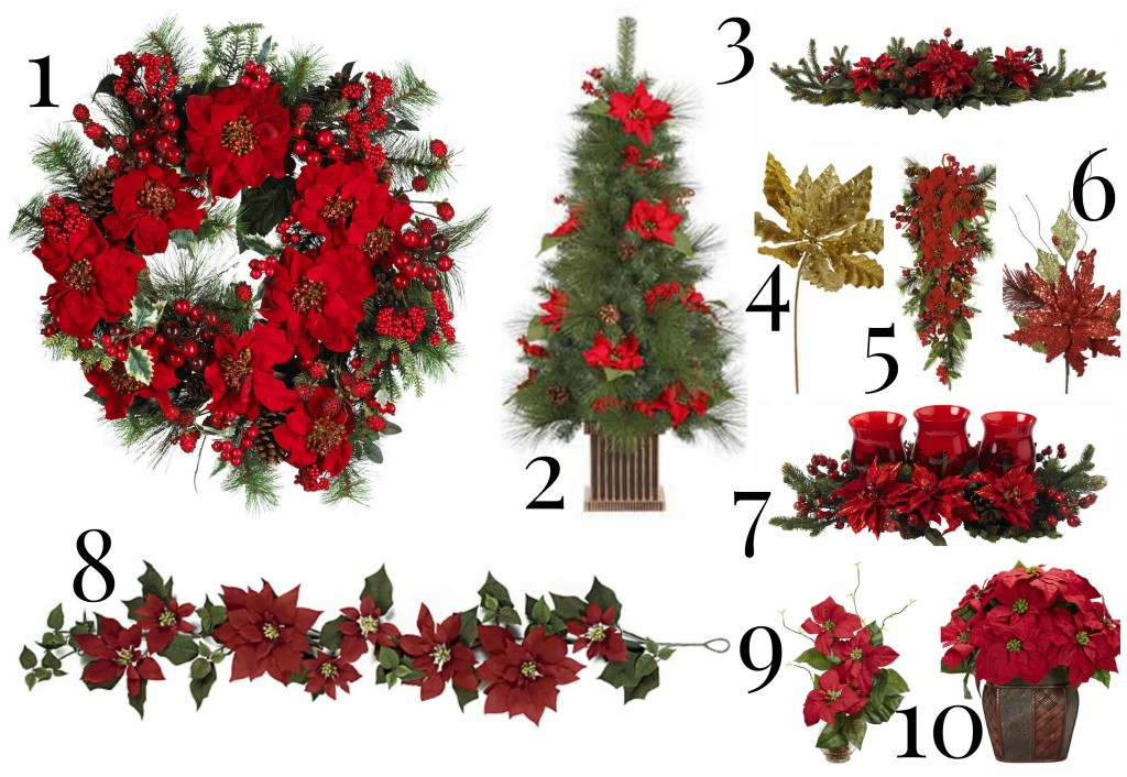 Outdoor Poinsettia Decorations christmas decorating with artificial  poinsettias