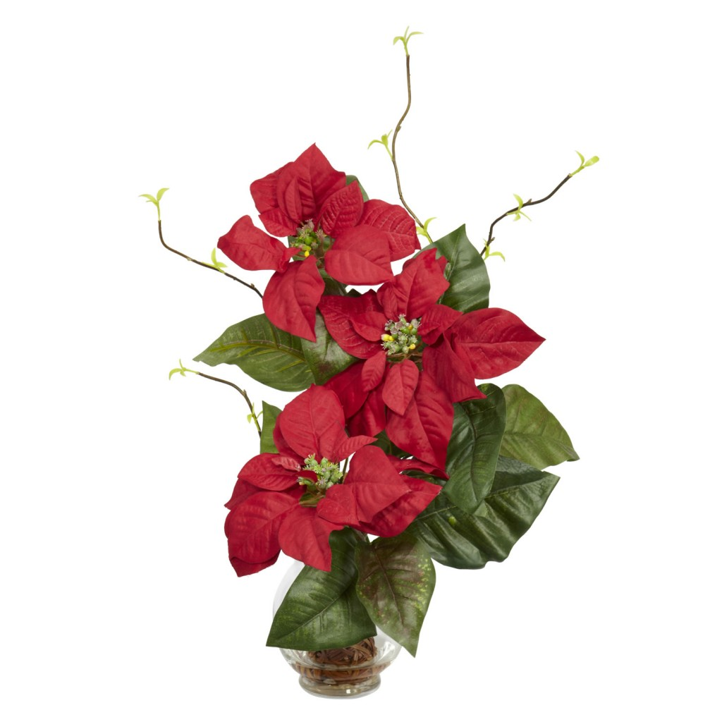 Silk Poinsettias in Fluted Vase