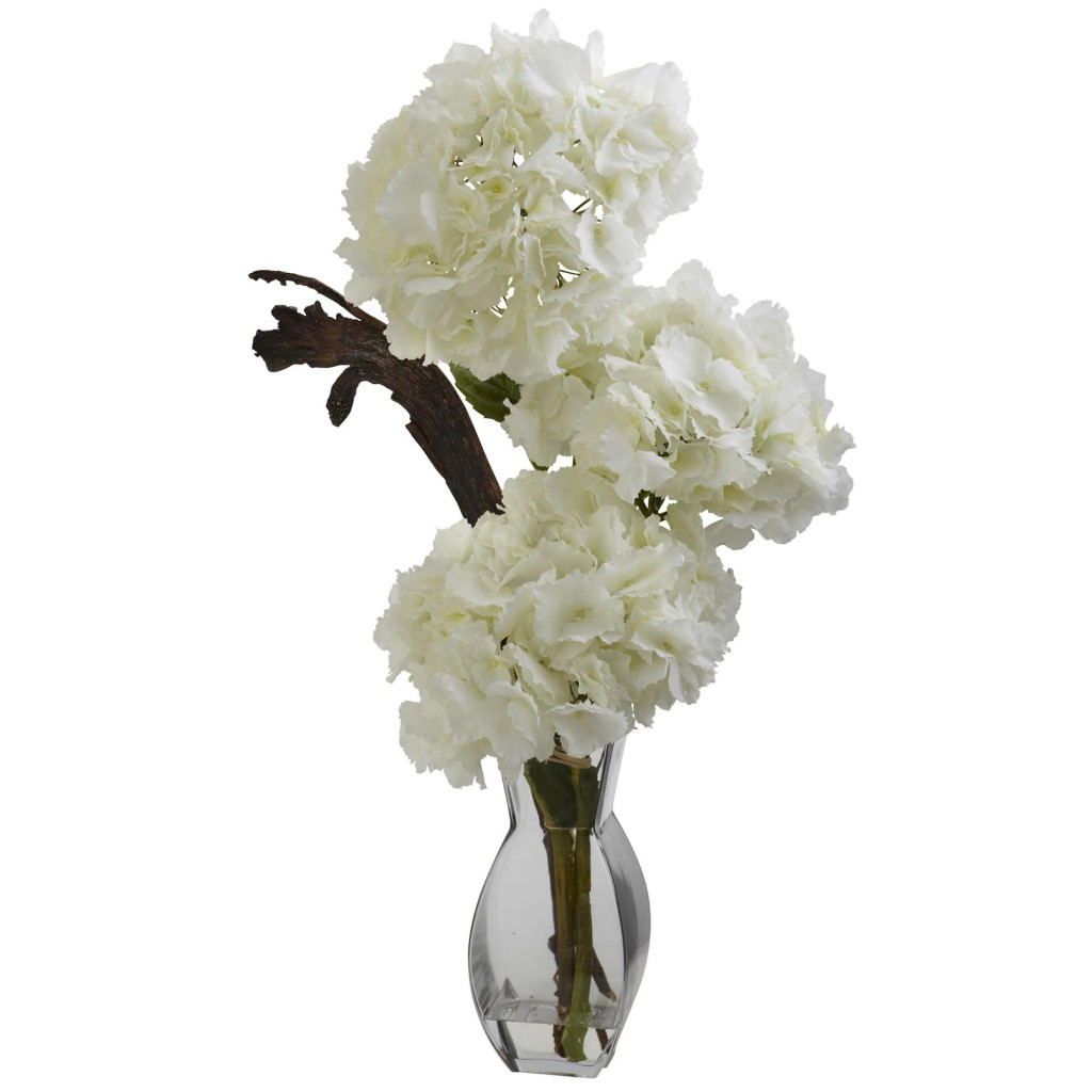 28-Inch Artificial Triple Hydrangea in Vase