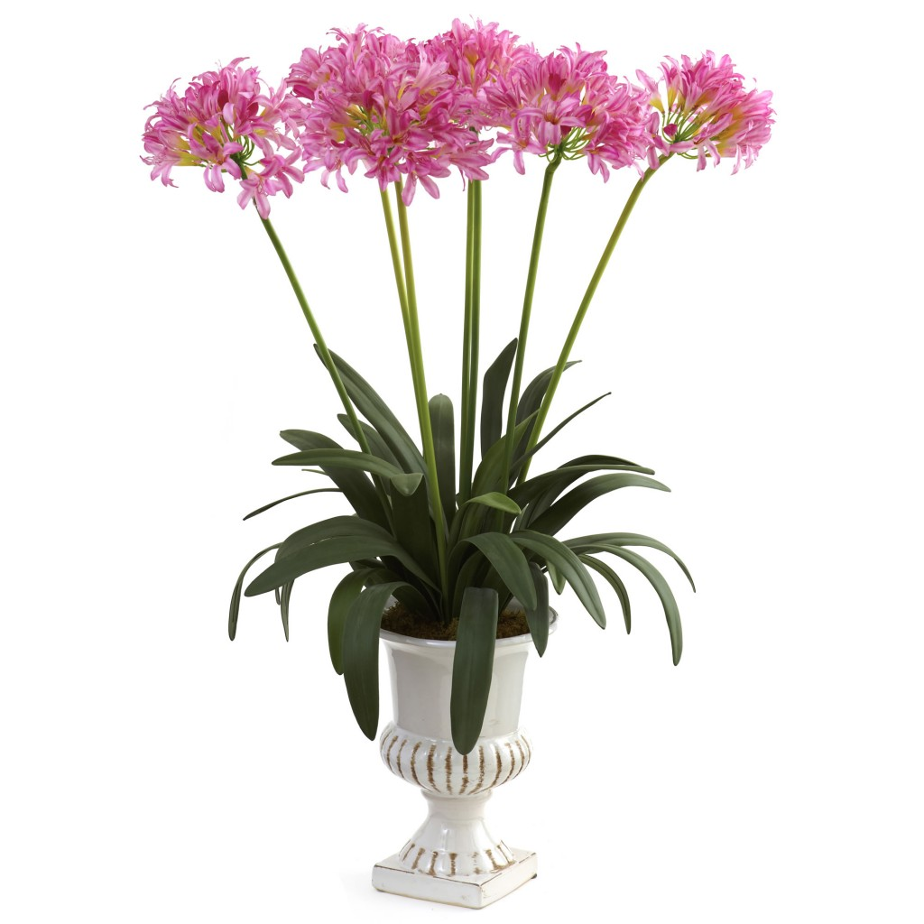 34-Inch Artificial African Lily Arrangement in Urn