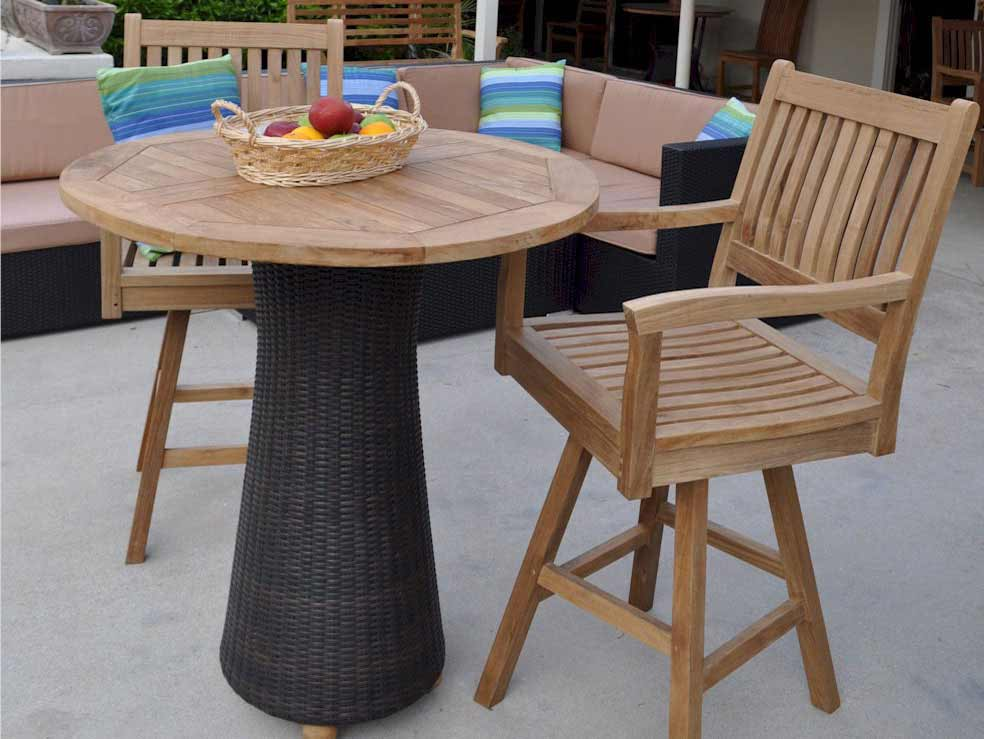 BarHeight Tables Perfect For Outdoor Entertaining - Teak bar height table and chairs