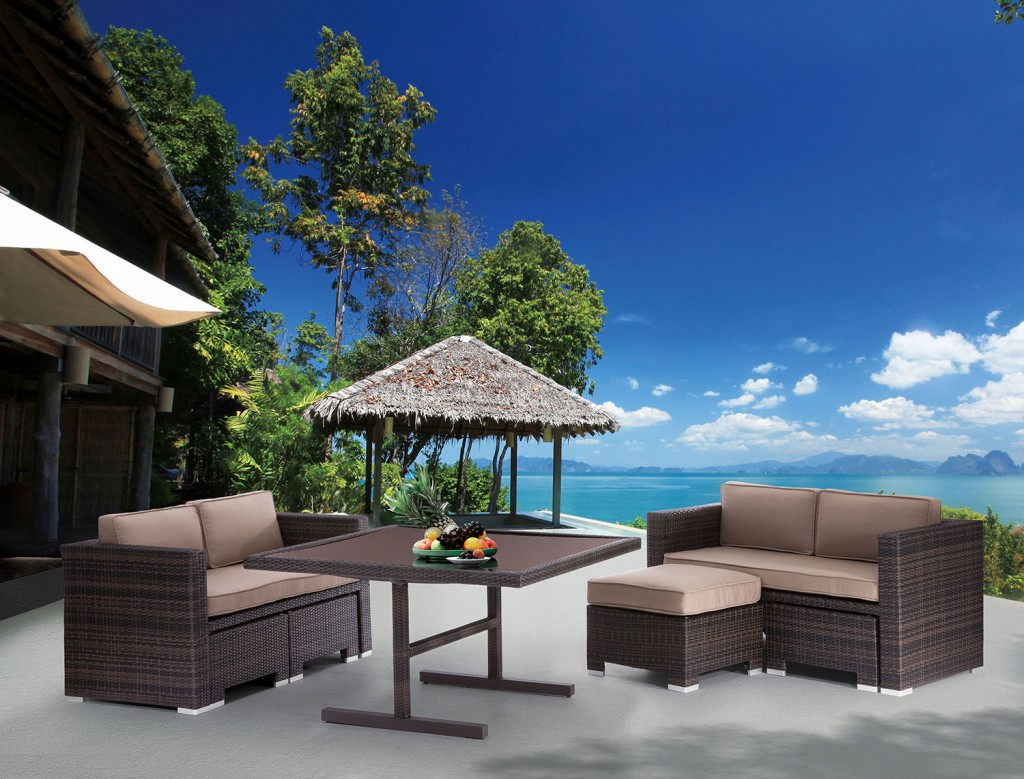 Zuo Deep Water Loveseat and Dining Set