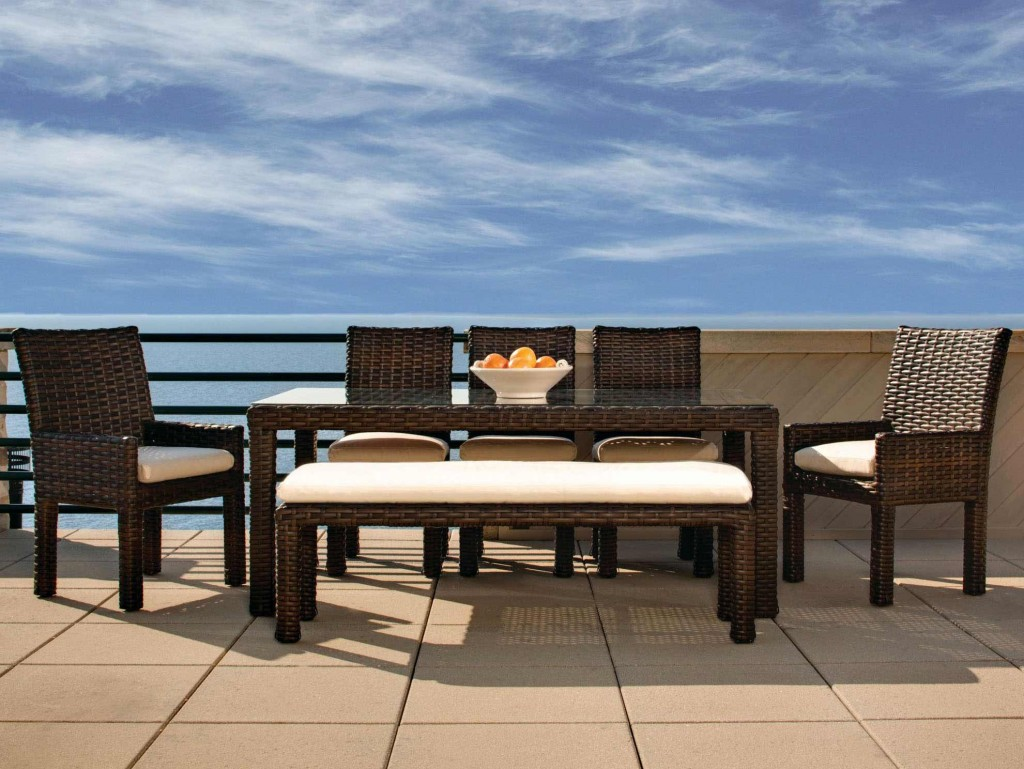 Outdoor dining sets with benches for Patio dining sets with bench seating