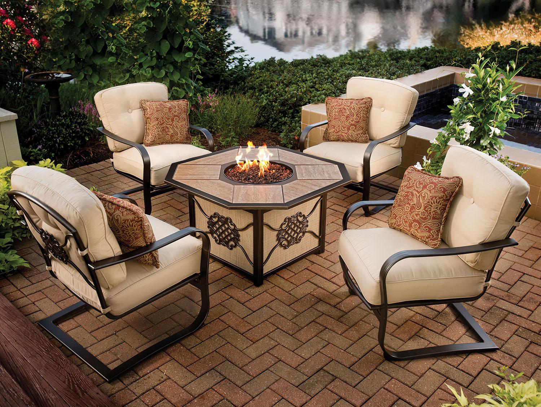 Oakland Living Octagon Fire Table Set