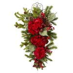 27-Inch Christmas Hydrangea Teardrop