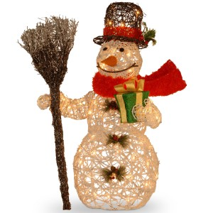 27-Inch Rattan Snowman Holding Gift and Broom