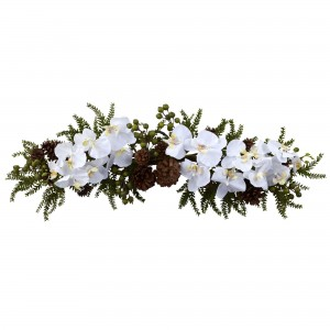30-Inch Artificial Phalaenopsis Orchid & Pine Swag