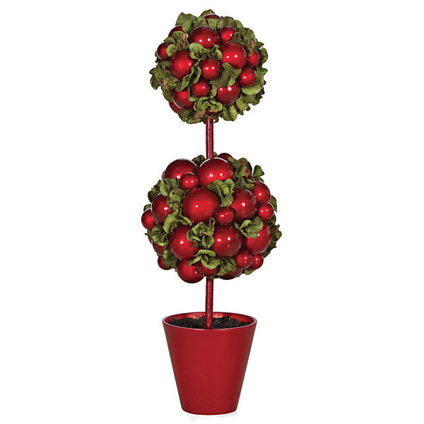 Double Ball Topiary in Red Pot