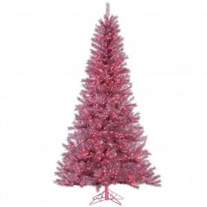 Magenta Tinsel Tree