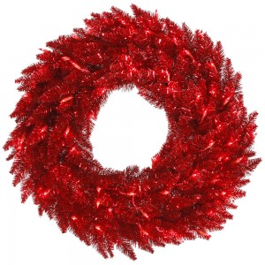 Red Tinsel Wreath