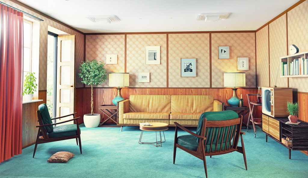 beautiful vintage interior. wooden walls concept.