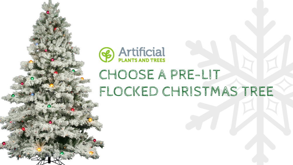 pre-lit flocked christmas trees
