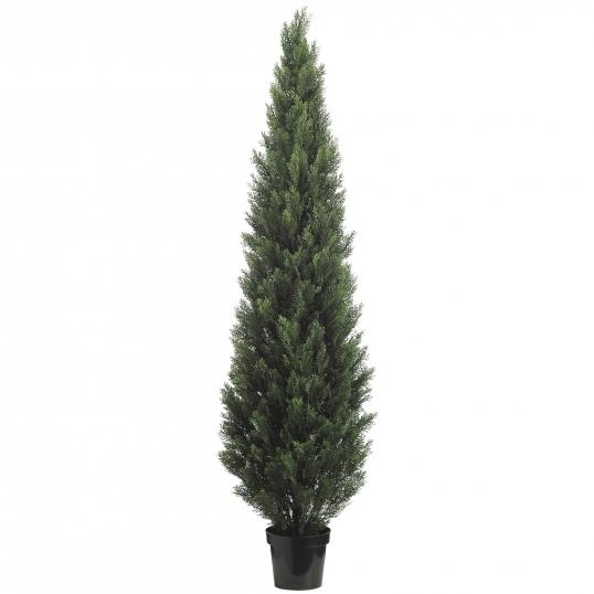 slim logo 8 foot artificial outdoor cedar tree potted - Outdoor Artificial Christmas Tree