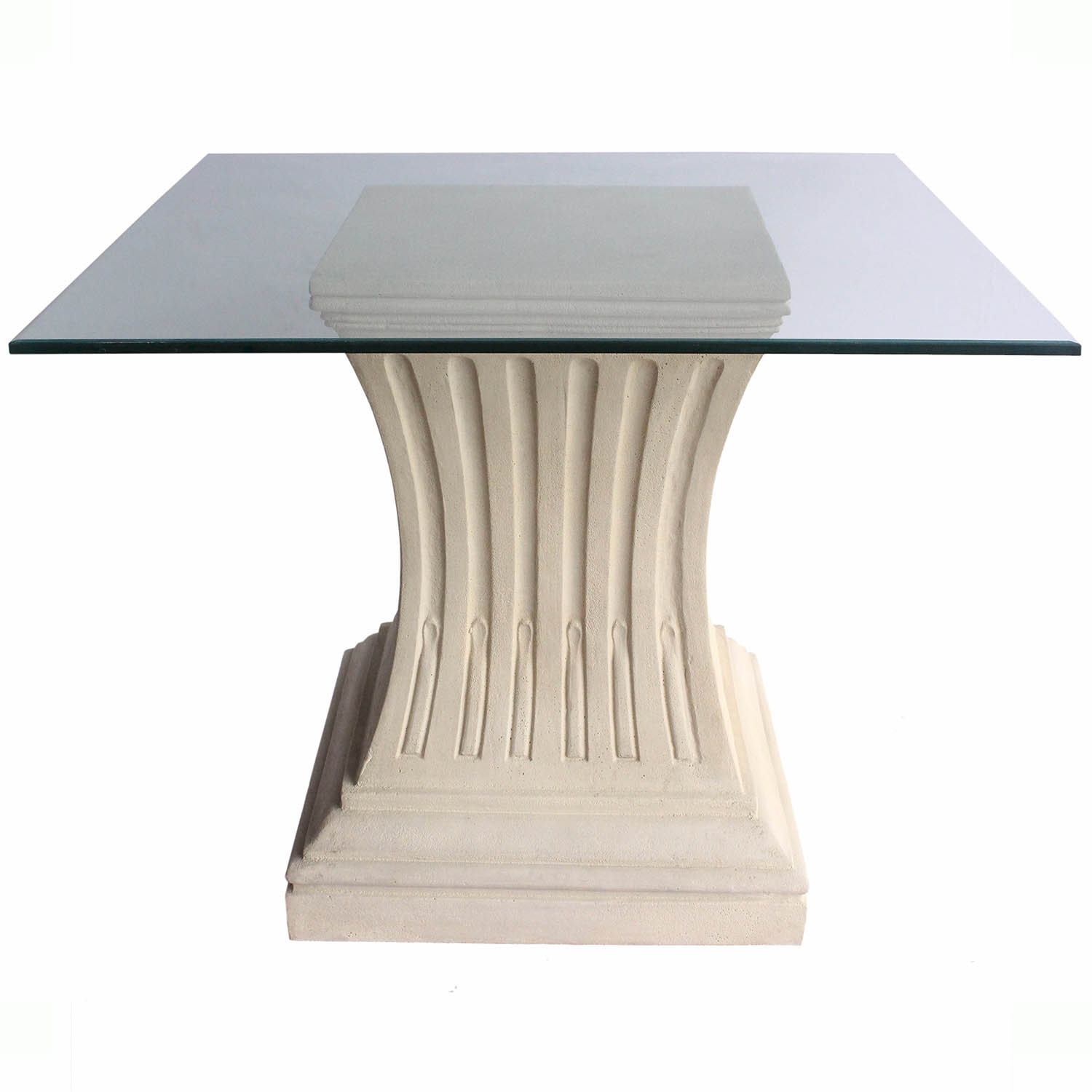 anderson teak   legacy cast limestone dining glass top table   tb
