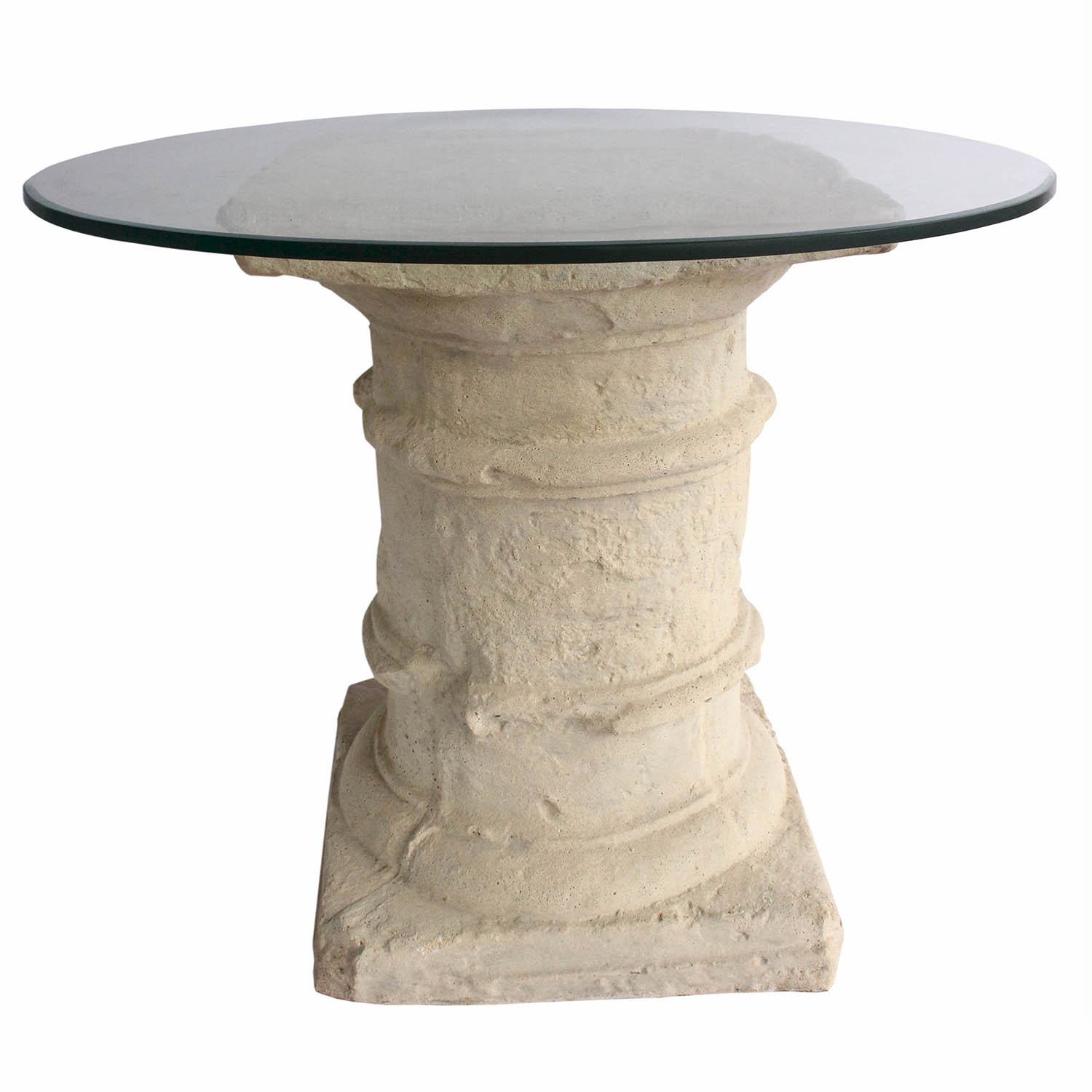 Etruscan Cast Limestone Dining Glass Top Table