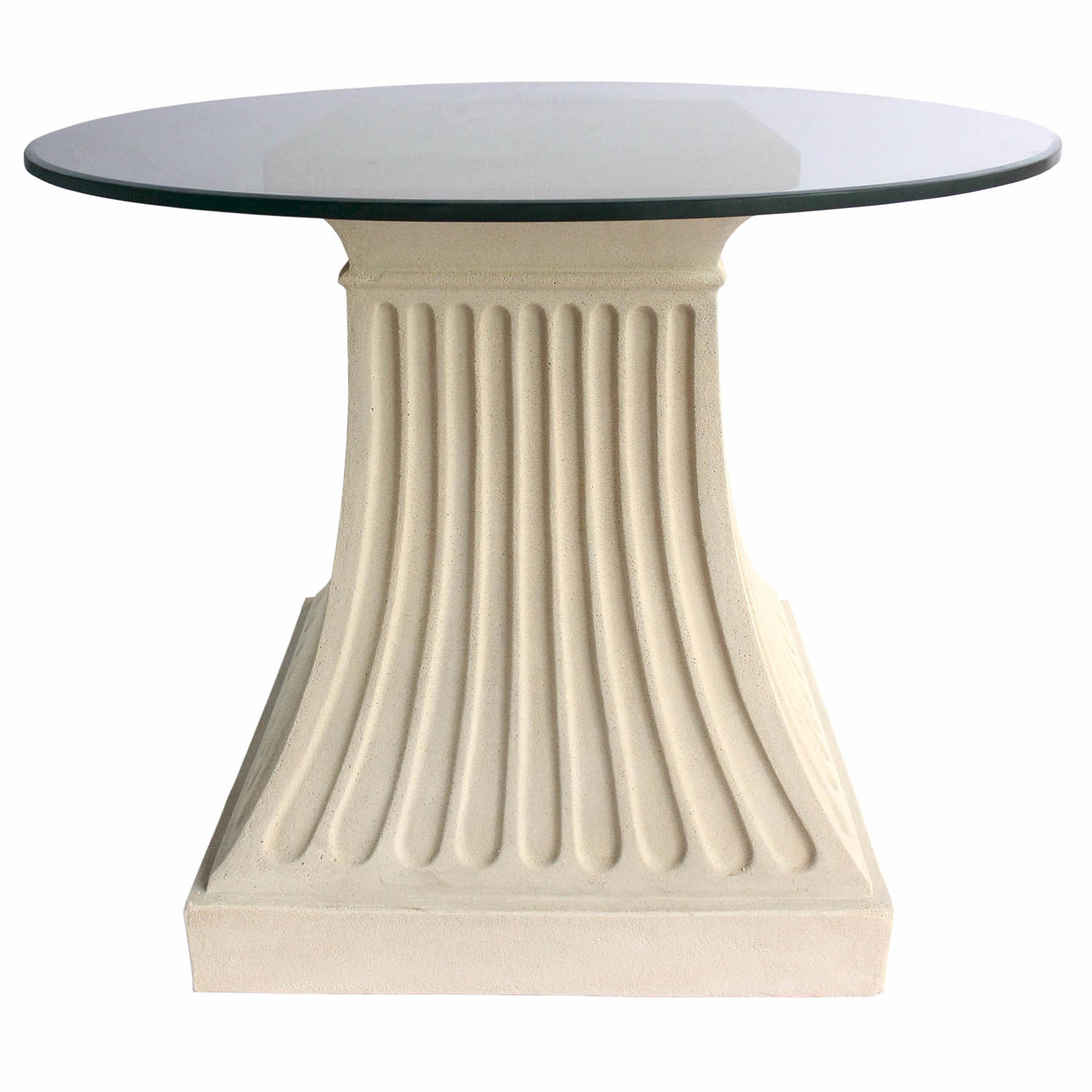 Choose Fluted Cast Limestone Dining Glass Top Table 1 6