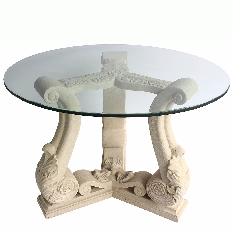 Excellent Fleur Cast Limestone Dining Glass Top Table 18 368