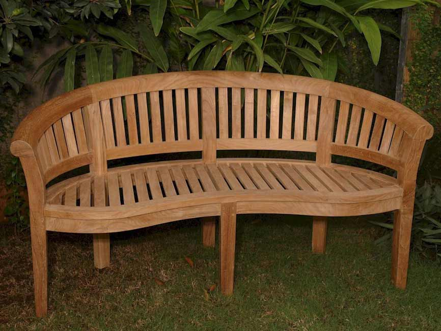 Ultimate Teak Curve Seater Bench Extra Thick Wood 2 2402