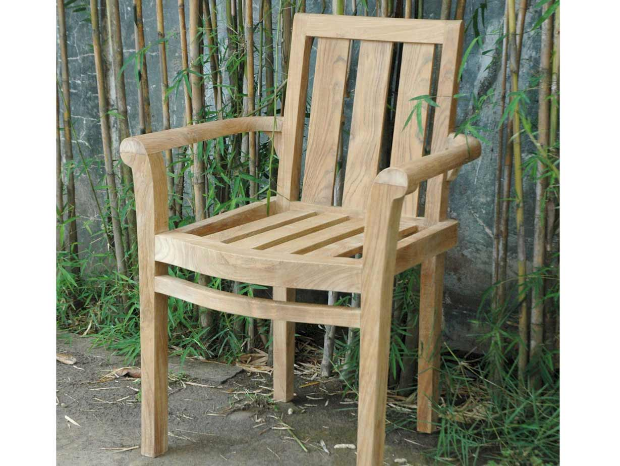 Trustworthy Teak Classic Stackable Arm Chair  Product Photo