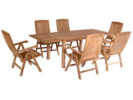 Anderson Teak Teak Extension Table With Reclining Arm Chairs SET - Teak extension table outdoor