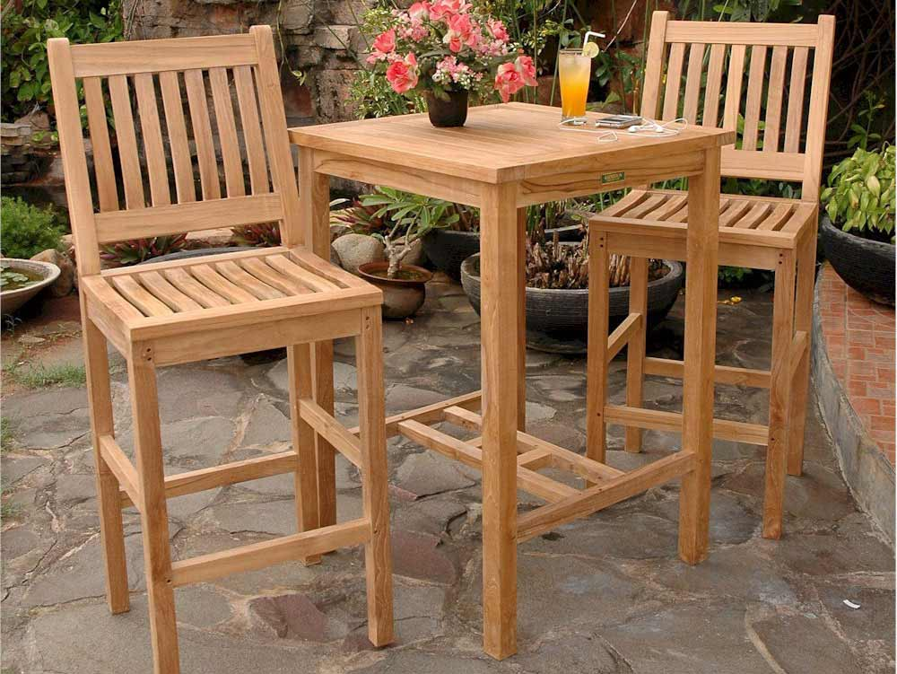 Ultimate Teak Avalon Square Bar Table Chairs 1 2402