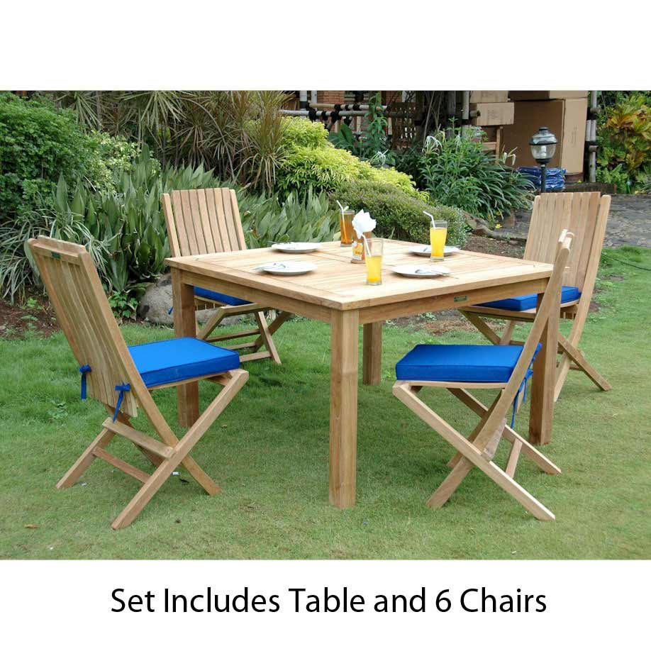 Order Teak Square Dining Set Comfort Folding Chairs Product Photo