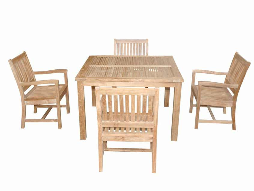Magnificent Teak Square Dining Set Rialto Arm Chairs Product Photo