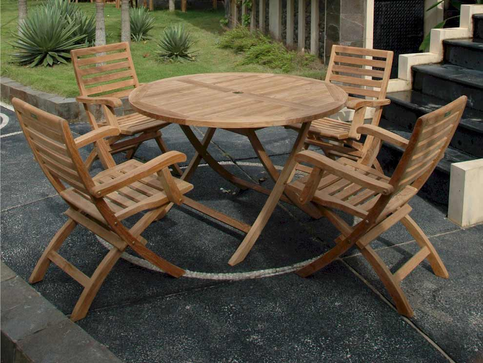 One of a kind Teak Round Dining Set Andrew Folding Arm Chairs Product Photo
