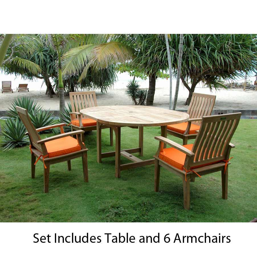 Order Teak Extendable Oval Dining Table Brianna Arm Chairs Product Photo