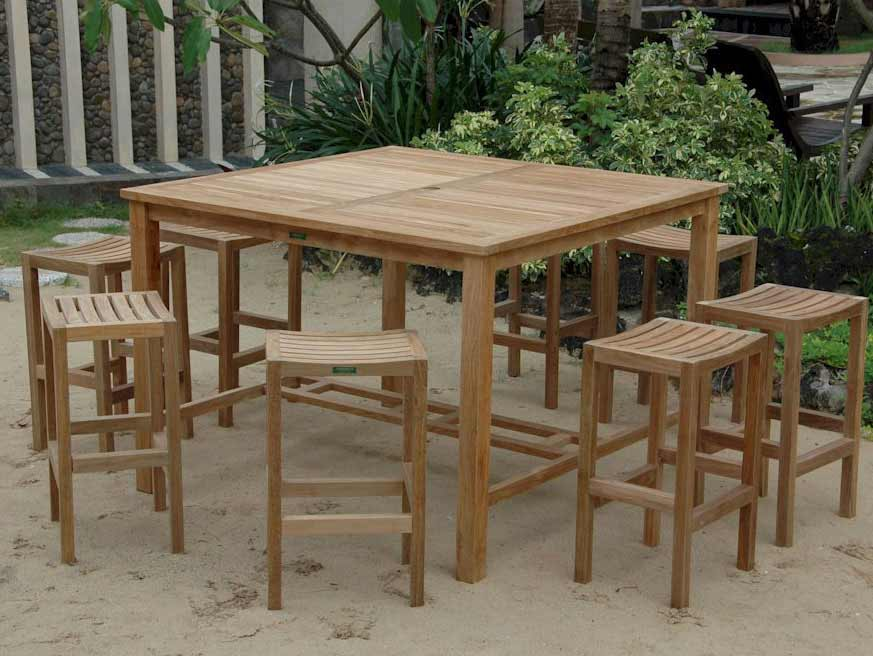 Learn more about Teak Windsor Bar Table Montego Bar Chairs Product Photo