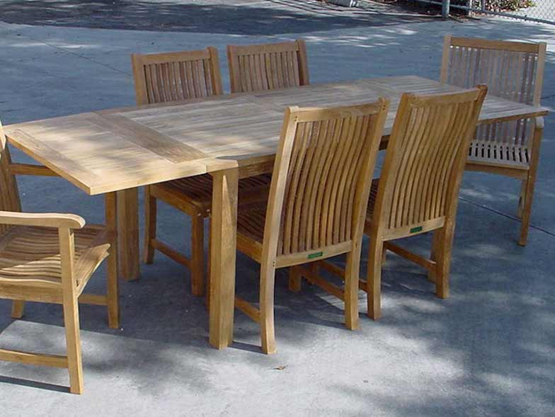 Purchase Teak Extension Table Chicago Dining Arm Side Chairs Product Photo