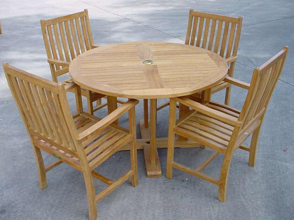 Superb-quality Teak Tosca Round Table Wilshire Arm Chairs Product Photo
