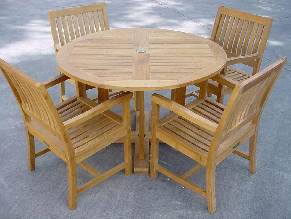 Purchase Teak Tosca Round Table Rialto Arm Chairs Product Photo