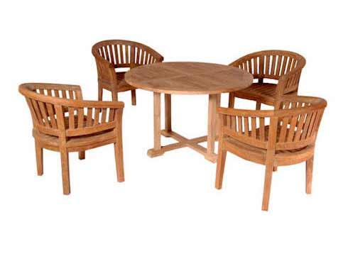 Select Teak Tosca Dining Table Extra Thick Curve Arm Chairs Product Photo