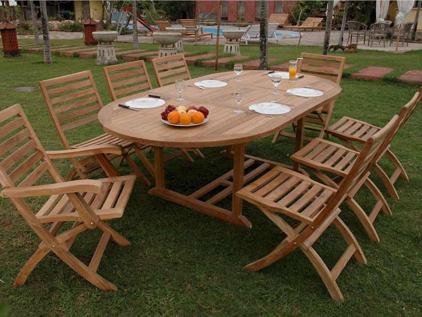 Purchase Teak Oval Extension Table Andrew Folding Chairs Product Photo