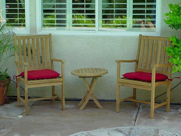 Teak Wilshire Arm Chair Set With Folding Bahama Side Table