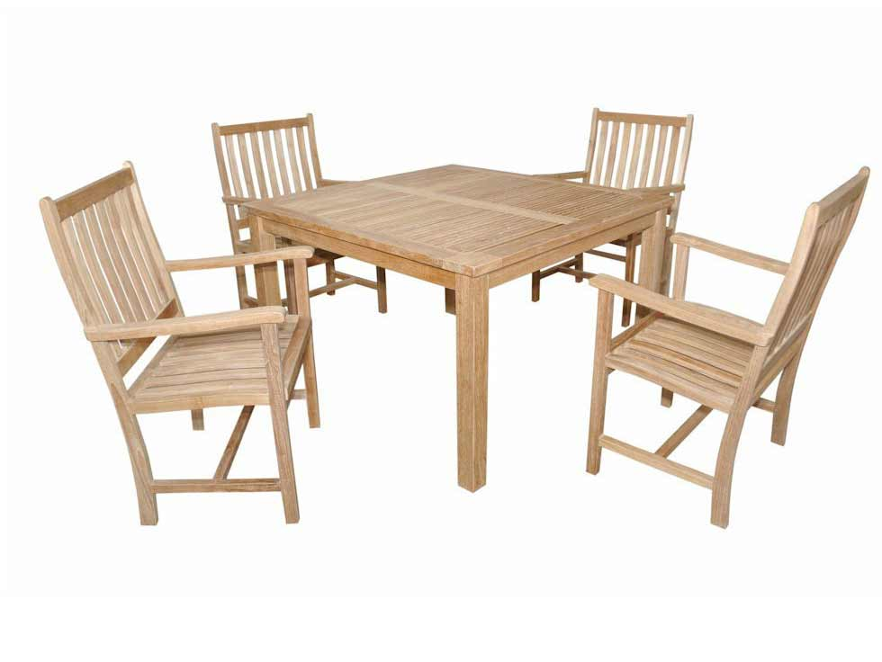 Trustworthy Teak Square Dining Table Wilshire Arm Chairs Product Photo