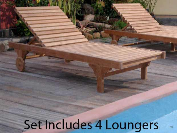 Stylish Teak Capri Sun Lounger Recline Back Side Tray  Product Photo