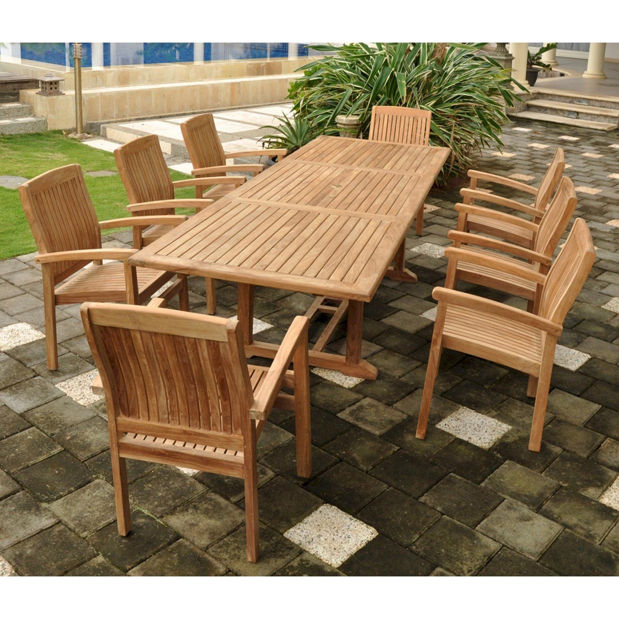 Purchase Teak Bahama Dining Table Set Stackable Arm Chairs Product Photo