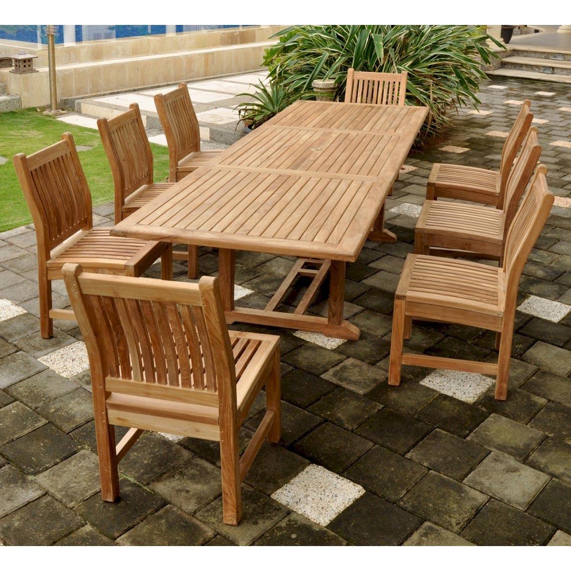 Purchase Teak Bahama Dining Table Set Sahara Side Chairs Product Photo
