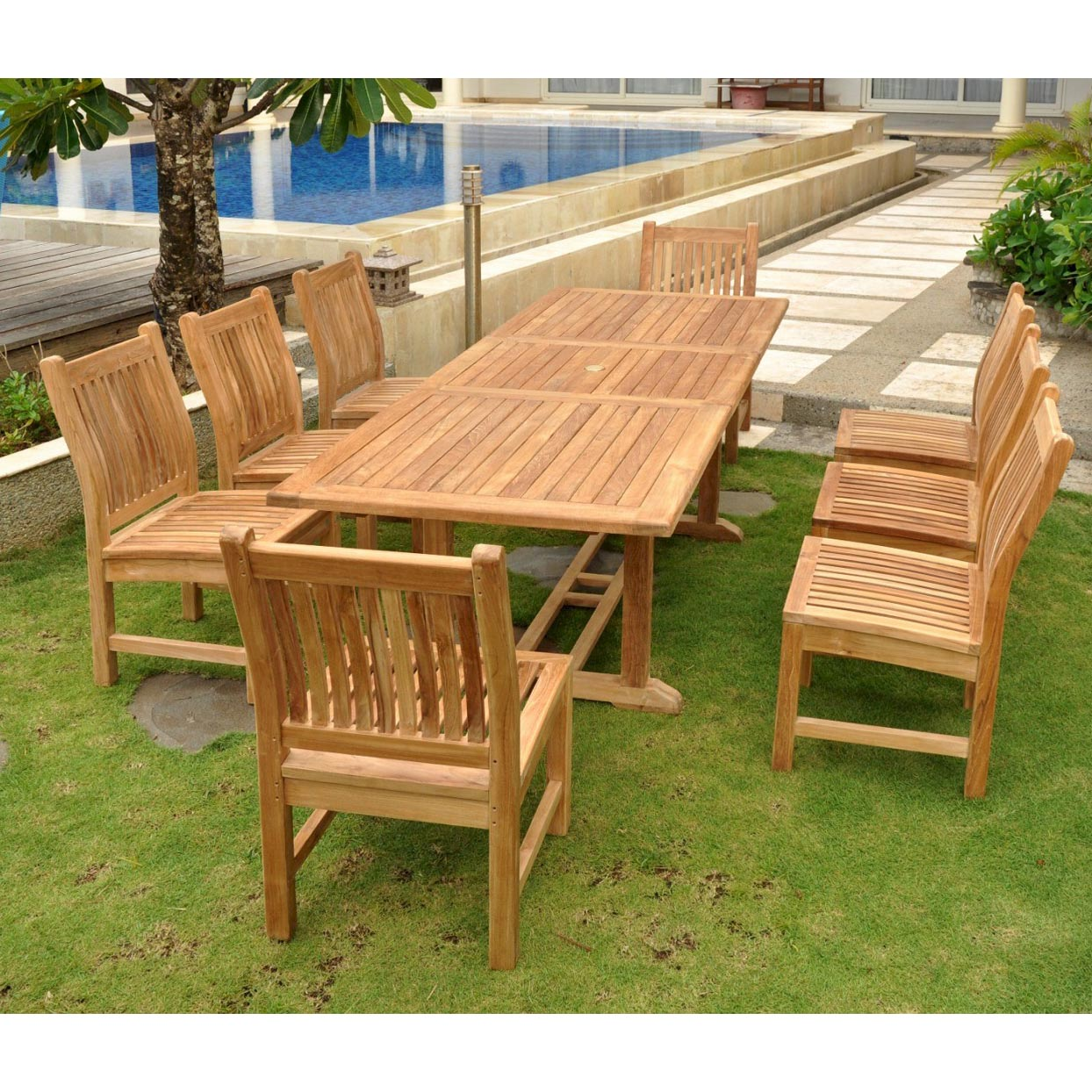 Teak Bahama Extension Table With 8 Sahara Dining Chairs